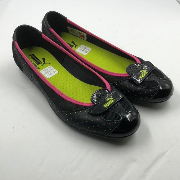 669e007b5ad Puma Shoes - Puma Eco Ortholite Zandy Black Pink Flats 8.5
